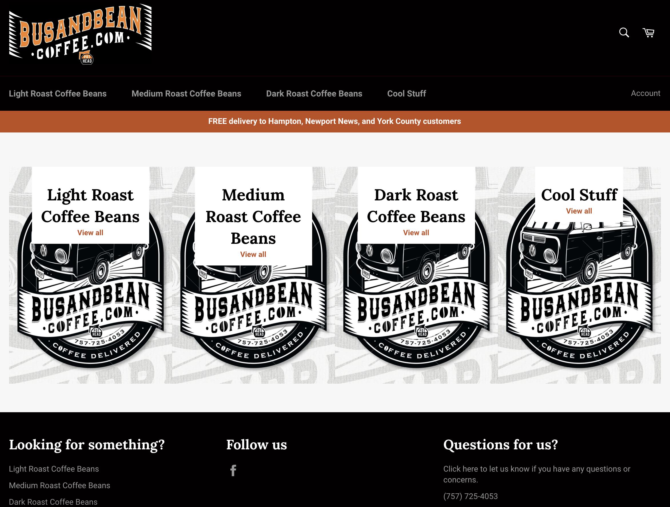 Bus & Bean Coffee website