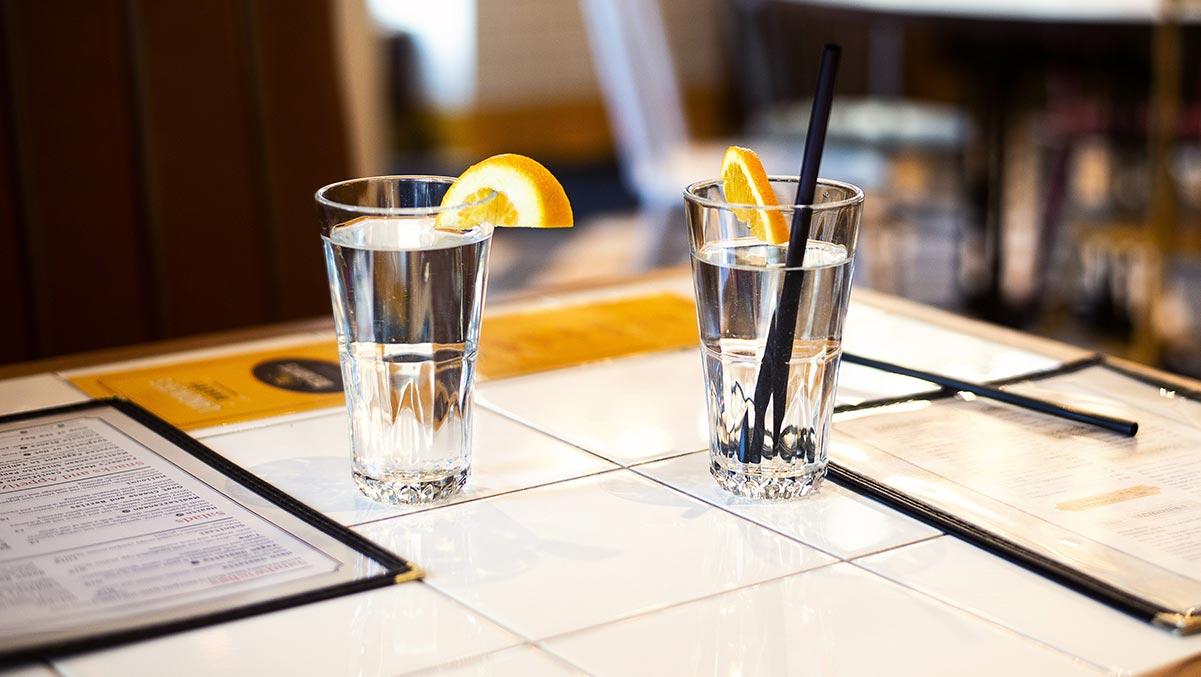 fresh water on restaurant table