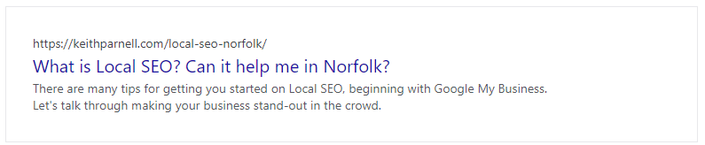 Google snippet - What is local SEO